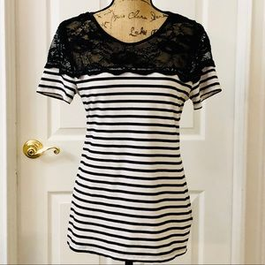 H&M black and white striped lace yoke tee